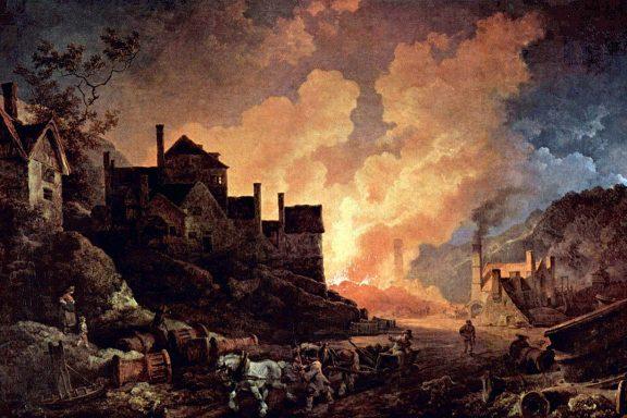 Coalbrookdale de noche. Una de las primeras localizaciones industriales Inglesas.